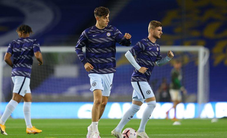 Timo Werner und Kai Havertz beim Warmmachen für den FC Chelsea